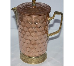 Copper (TAMA) JAR/Mug - Hand work in Nepal, Pure Copper Water Jug to neutralize any type of water before drink - Large Size