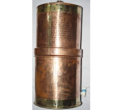 Nepali COPPER WATER FILTER WITH PURE CERAMIC CANDLES - to balance body, mind and soul, to neutralize from all chemicals, virus and bacterias, murky/dirty water best purifier - Large size