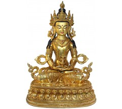 AMITAYUS (MASTERPIECE Statue, fine carving  by master artist from Patan, Nepal, with 8 buddha including parwa, gold gilded - Medium Size