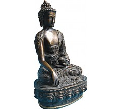BUDDHA -Beautiful carving, Black colored, Statue,  Hand worked in Nepal - Medium Size