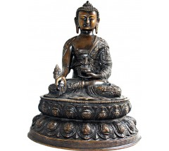 BUDDHA - Statue, fine carving with buddha'slife figures, Black colored, made in Himalaya of Nepal - Large Size