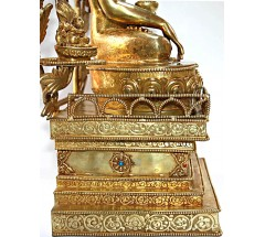 BUDDHA (ASTHA BUDDHA) MASTERPIECE Statue, fine carving  by master artist from Patan, Nepal, with 8 buddha including parwa, gold gilded - Medium Size