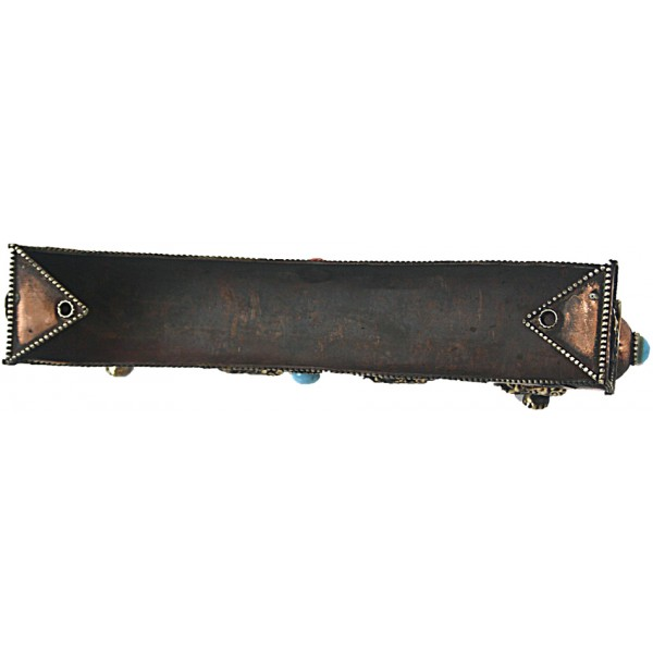 Incense Burner attached with Incense Stick keeping box (holder), Copper/Bronze  with decoration - Medium Size (21*4.5*6 cm, 8.2*1.77*2.3 inch)