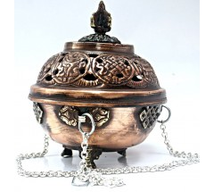 Natural Herbal Incense Burner (mixed raw powder, small pieces burning) hanging, Bronz with fine decoration - Medium Size