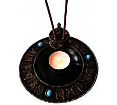 Incence Burner, Bronze, Lotus flower design, (also Candle burner) with gem-stones - Large Size