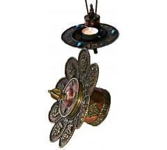 Incence Burner, Bronze, Lotus flower design, (also Candle burner) with flower design - Medium Size