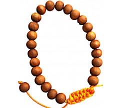 Pure SandalWood Bracelet, 27 Beads, Knotted, 8 mm