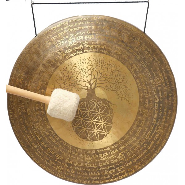 UNIQUE GONG BY GOVINDA TIWARI - MCE® Professional Designed - Flower of Life and flower of Tree with powerful mantras in English and Sanskrit - Giant Size (60 cm, 23.5 Inch)