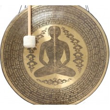 OM-UNIVERSAL SOND HEALING GONG OF MCE® Professional Designed - Chakra symbol in human body with mantra in Sanskriti and English - Giant Size (88.5 cm, 35 Inch)