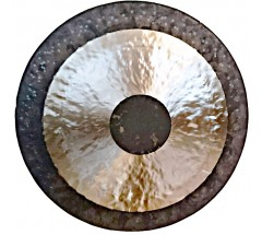 THETA - Healing, Planetary, Therapeutic, WHITE CHAU (Tam Tam) Black in center n rim middle Shiny GONG