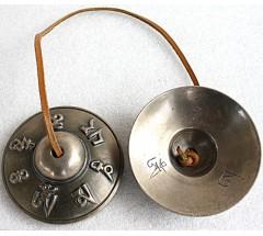 Tibetan Tingshaw/Cymbal - Tibetan Mantra Carved - Large size